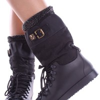 BLACK MID CALF LACE BUCKLE WATER RESISTANT SNOW BOOTS