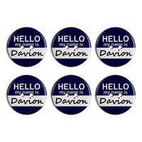 Davion Hello My Name Is Plastic Resin Button Set of 6