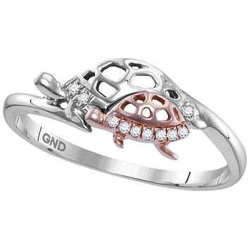 Sterling Silver Women's Round Diamond Rose Turtle Animal Band Ring 1/20 Cttw - FREE Shipping (US/CAN)