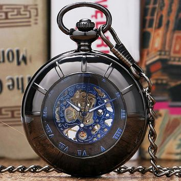 New Arrival Black Hollow Case Blue Roman Number Skeleton Dial Steampunk Mechanical Pocket Watch With Chain Gift To Men Women