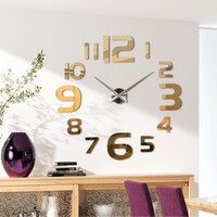 Modern 3D Frameless Large Wall Clock Style Watches Wall Sticker DIY Room Home Decorations Big Timer 21# Gold