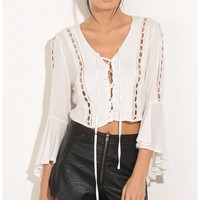 Tops > Bell Sleeve Lace-Up Crop Top In White