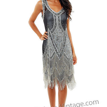 Black & Silver Embroidered Reproduction 1920's Flapper Dress - S to 2XL - Unique Vintage - Cocktail, Evening  Pinup Dresses