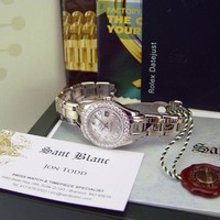 ROLEX Ladies 29mm 18kt White Gold Pearlmaster MOP Diamond 80299 SANT BLANC