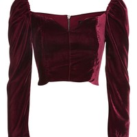Velvet Sweetheart Neck Top | Topshop