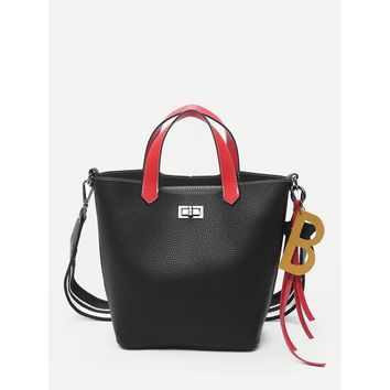 Pebble Embossed Combination Bag With Clutch