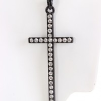 Black Polished Metal Rhinestone Cross Necklace