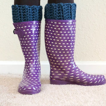 ribbed boot cuffs, crochet boot socks, blue leg warmers, short boot cuffs, boot toppers, wool leg warmers / THE HUXLEY / Blueberry