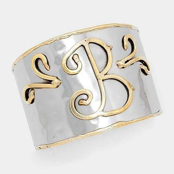 'B' Hand Made Two Tone Metal Monogram Cuff Bracelet