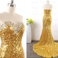 Sequin Golden Evening Dresses, Strapless Long Golden Sequin Mermaid Evening Gown, Long Formal Dresses, Mermaid Sequin Long Prom Gown