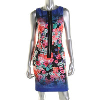 Nanette Lepore Womens Venice Beach Sateen Floral Print Casual Dress