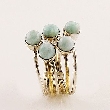 Larimar Sterling Silver Two Tone Stack Ring