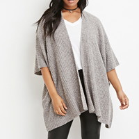 Plus Size Marled Open-Front Cardigan