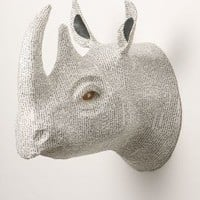 Savannah Story Bust, Rhino by Anthropologie in White Size: One Size Wall Decor