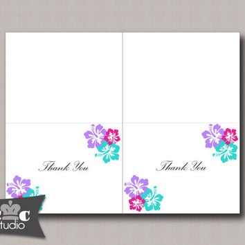 Hibiscus Flower Thank You Card, DIY Printable Folded Notecard - Wedding, Bridal Shower, Baby Shower - You Print Instant Download