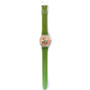 Vintage 1980's Swatch Watch, Disque Rouge