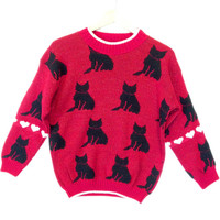Red Vintage 80s Sparkle Cats Acrylic Ugly Sweater - The Ugly Sweater Shop
