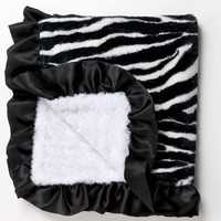 Zebra Baby Blanket in Faux Fur with Black Satin Ruffle and Ultra Lux Plush White Swirl on Back, An Alexander Timothy Designer Baby Throw:Amazon:Baby