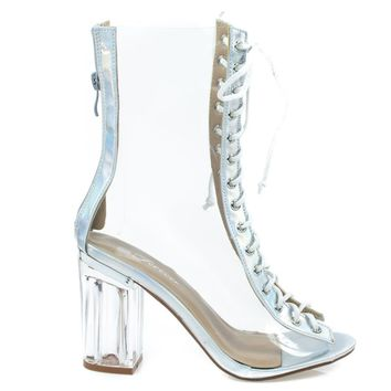 Clear45 Silver Above Ankle Clear Peep Toe Lace Up Boots & Perspex Plexiglas Block Heel