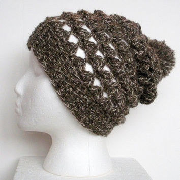 Lacey Wool Crochet Slouch Beanie Hat in Brown Marl, ready to ship.