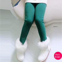 Solid Green Winter Thick Warm Girls Leggings