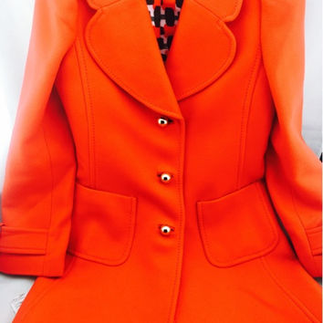 Kate Spade Double Breasted Red Wool Coat Size 4