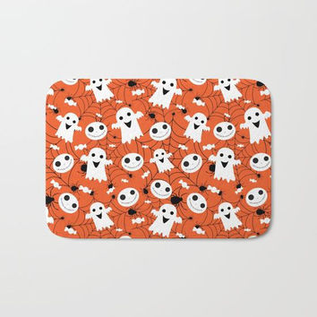 Halloween Bath Mat, Halloween Shower Mat, Bathroom Mat, Orange Shower Mat, Halloween Decor, Halloween Bathroom Decoration, Orange Shower Mat