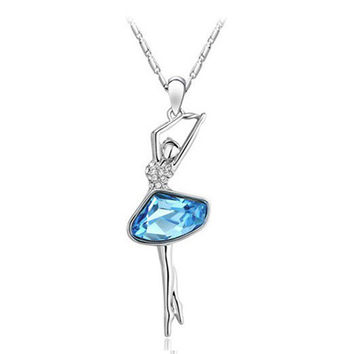 Silver Plated Ballet Dancer Pendant Necklace