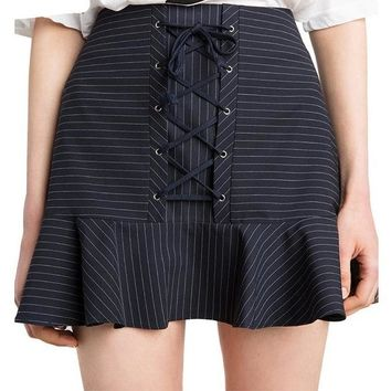 Fashion Striped Sweet Skirts High Waist Cross Strap Front Ruffle Lady Bottom Preppy Style A-line Skirt