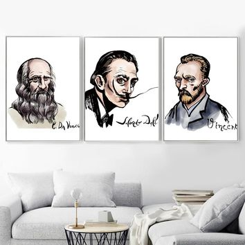 Artist Van Gogh Salvador Dali Vinci Wall Art Canvas Painting Nordic Posters And Prints Wall Pictures For Living Room Home Decor