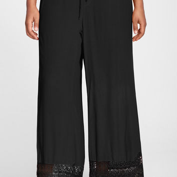 'Noe Valley' Lace Hem Wide Leg Pants (Plus Size)