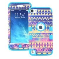 Touch 6 Case, iPod Touch 6 Case, MagicSky PC + Silicone Galaxy Tribal Pattern Case for Apple iPod Touch 6 / Touch 5 - 1 Pack - Retail Packaging - Blue