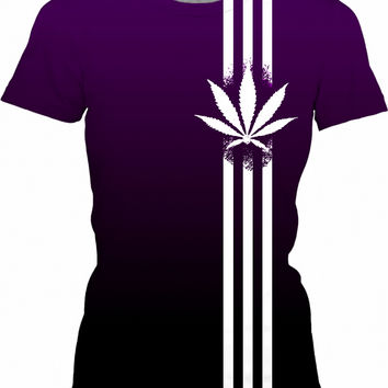 420 Black and deep purple girls t-shirt, ganja leaf and three stripes, weed, marihujana