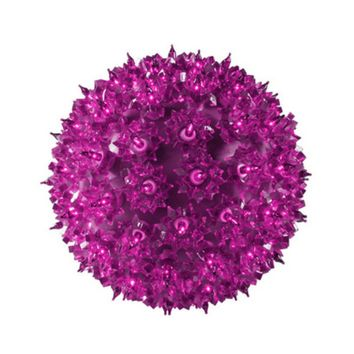 "10"" Pink Lighted Purple Hanging Mega Starlight Sphere Ball Christmas Decoration"