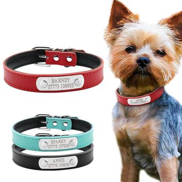 Leather Personalized Dog Or Cat Collars For Small And Medium Dogs-Custom Engraving With your Phone Number And The Pets Name