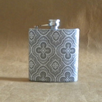 Holiday Gift SALE Flask Gray and White Medallions Print 6 ounce Stainless Steel Bridesmaids' Gift Flask KR2D 6755