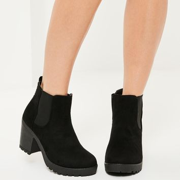 Missguided - Black Cleated Sole Ankle Boots
