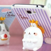 Samsung Galaxy Note II Case - Purple Straight with 3D Cute Rabbit (Package includes: Anti-dust Plug Stopper)