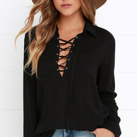 Stylistic Reins Black Long Sleeve Lace-Up Top