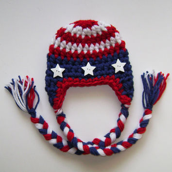 Baby boy hat - Baby girl hat - American Flag hat - Patriotic hat , Stars and Stripes Earflap Hat with Braids