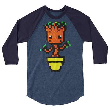 Baby Groot Perler Art 3/4 Sleeve Raglan Shirt by Aubrey Silva
