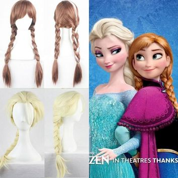 Hot Sale 2018 Elsa Anna Wig Ponytail Long Weaving Micro Braided Wigs Cosplay Adult Fluffy Cartoon Hair For Halloween
