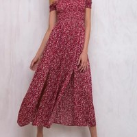 Tricycle Race Red Shirred Off Shoulder Dress