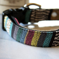 Striped Mexican Woven Dog Collar 3/4 Inch Wide -H-