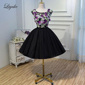 Liyuke Candy Color Flowers Custom Made New Prom Dress Backless Type A Line Strapless Party Dress Knee-Length Formal Dresses