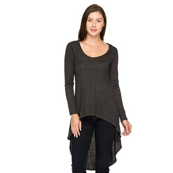 Casual Solid Round Neck Long Sleeve High Low Asymmetrical Hem Tunic Blouse Top