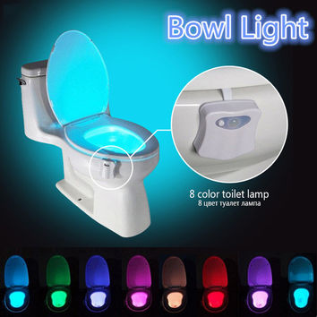 Hot 8 colours Sensor Body Motion Sensor Toilet Light Sensor Toilet Seat LED Night Lamp Motion Activated Toilet Bowl