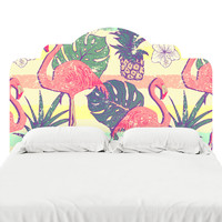 Flamingos and Pineapples Headboard Decal