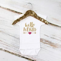 Hello World Baby Onesuit - Gold Girls Onesuit with Hello World and Hot Pink Heart Arrow