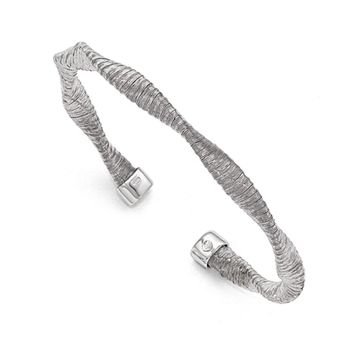 5mm Sterling Silver Textured and Twisted Cuff Bracelet